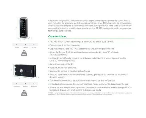 FR 210 Fechadura digital para portas de correr