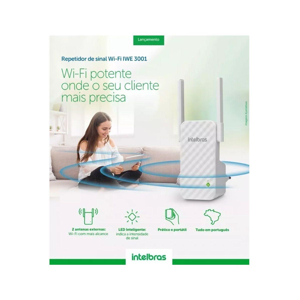 Repetidor Sinal Wireless Intelbras Iwe 3001 Antena Externa