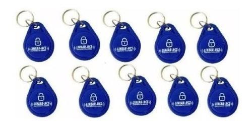 Kit 10 Chaveiros Tag Linear Azul Para Controle De Acesso
