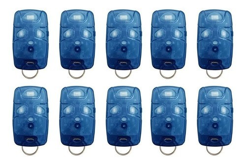 Kit 10 Controle Remoto 433 Mhz 4 Teclas Azul TX4 Linear Portão Alarme