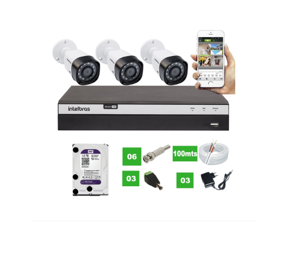Kit 3 Câmeras Vhd 1220 B G4 Full Hd C/ Mhdx 3104 e HD 1Tb Purple