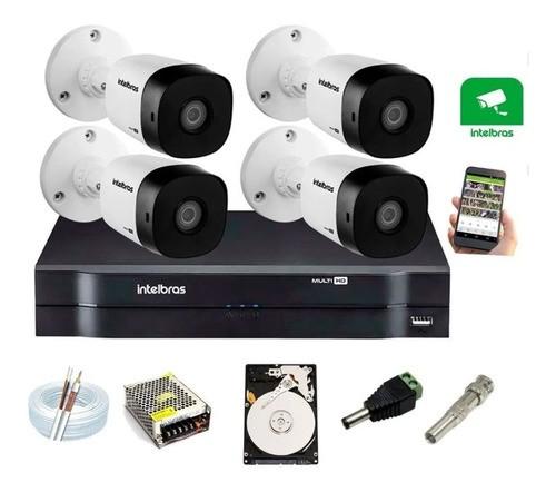 Kit 4 Câmeras Intelbras Vhl 1120 B 720p Dvr 4 Canais C/ HD