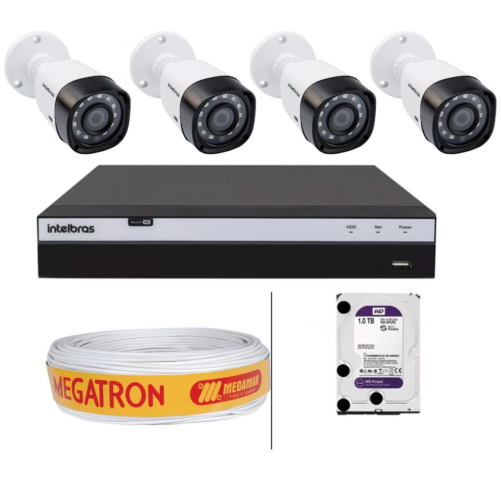Kit 4 Câmeras Vhd 1220 b + Dvr 3108 Full HD 1TB + Cabo Coaxial