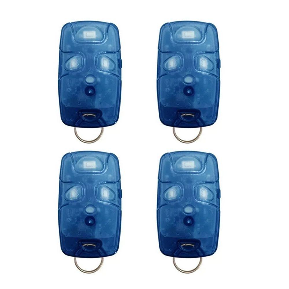 Kit 4 Controle Remoto 433 Mhz 4 Teclas Azul TX4 Linear Portão Alarme