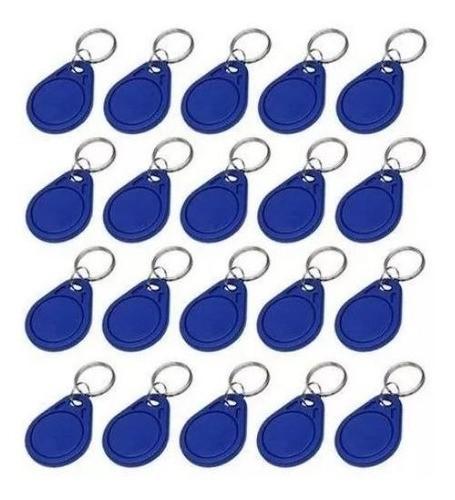 Kit 50 Chaveiros Tag Linear Azul Para Controle De Acesso