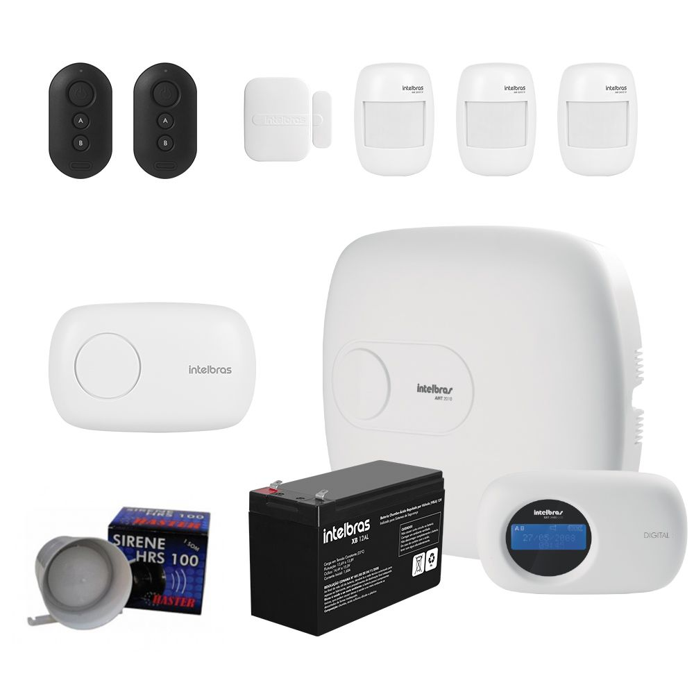 Kit Alarme Amt 2010 Monitorado 04 Sensores Intelbras