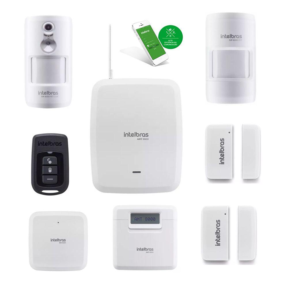Kit Alarme Intelbras Wifi Sem fio Amt 8000 Com 4 Sensores