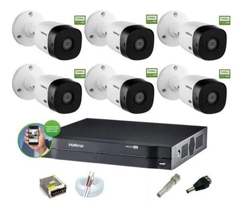 Kit Cftv Intelbras 6 Cam 1220b 1080p Dvr 8ch Mhdx 1108 S/ HD