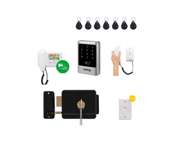 Kit Controle de Acesso Externo Empresarial Vídeo Porteiro e Fechadura Elética