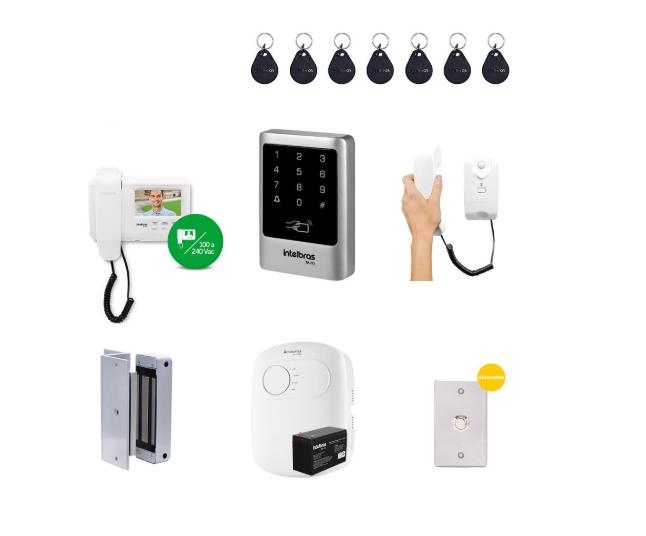 Kit Controle de Acesso Externo Empresarial Vídeo Porteiro e Fechadura Eletroímã 02
