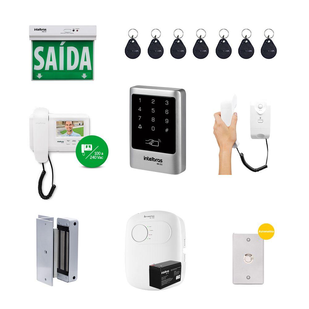 Kit Controle de Acesso Externo Empresarial Vídeo Porteiro e Fechadura Eletroímã