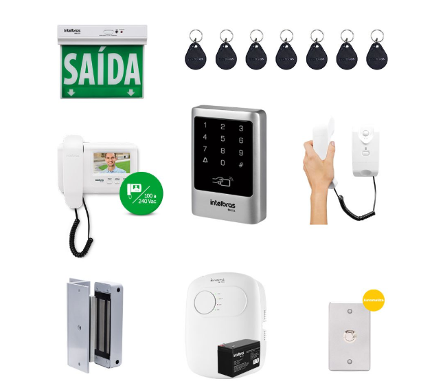 Kit Controle de Acesso Intelbras Externo Empresarial Vídeo Porteiro Ivr 1010 e Fechadura Eletroímã