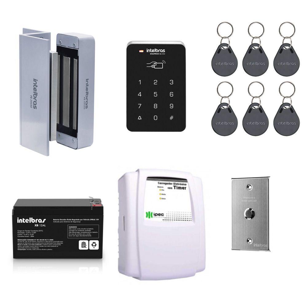 Kit Controle de Acesso Intelbras Sa 202 e Fechadura Eletroímã Magnética
