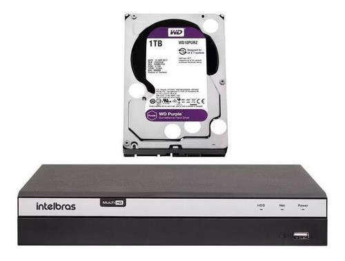 Kit Dvr 8 Canais 4k Intelbras Mhdx 5208 8 Câmeras + 1Tb Purple