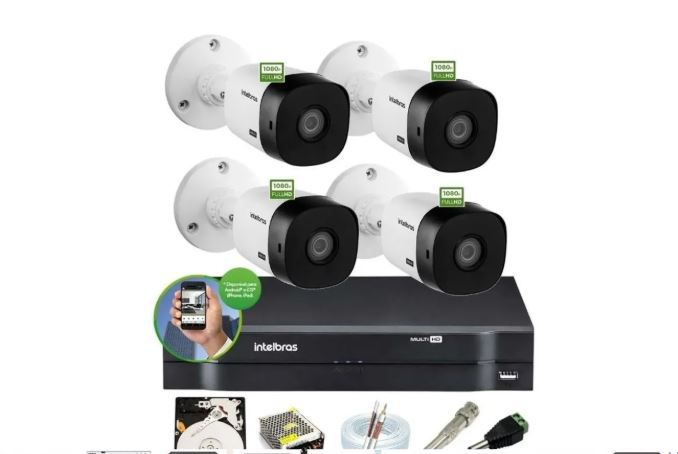Kit Intelbras 3 Cam 1220b + 1 Cam 1220d FullHd 1080p Dvr 4 Mhdx 1104 C/ HD