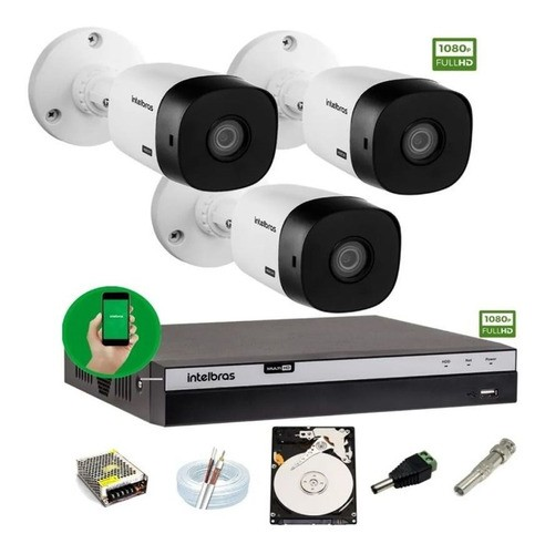 Kit Intelbras 3 Camera Seg 1220b Fullhd Dvr Mhdx 3104 C/ HD