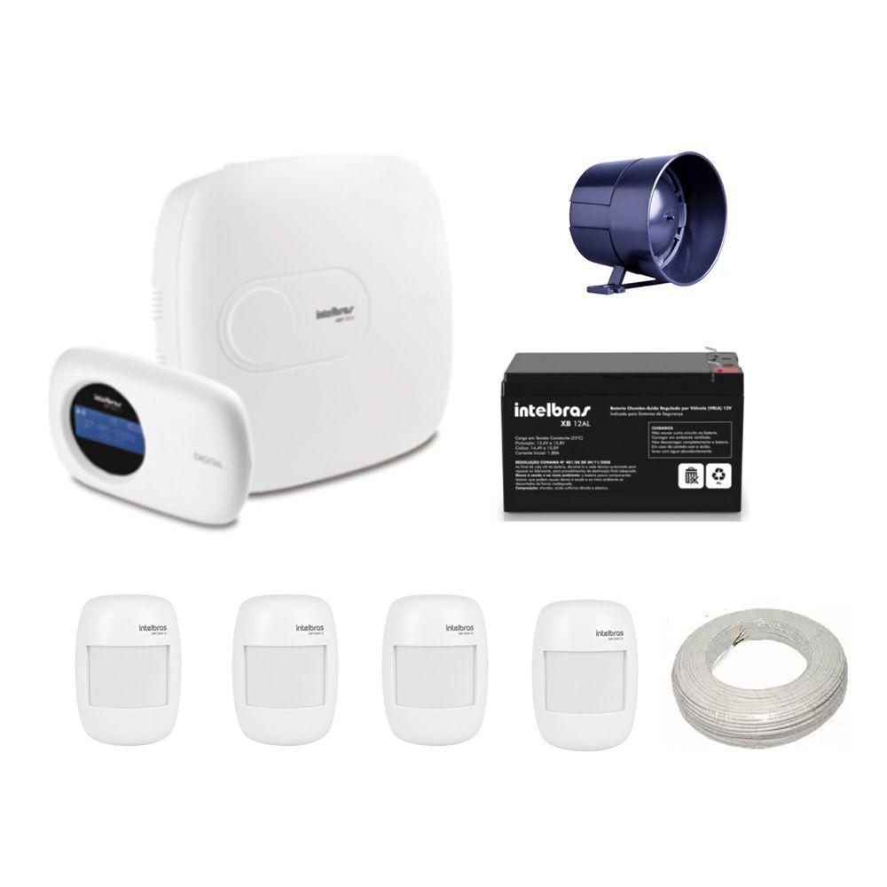 Kit Intelbras Central de Alarme Com Teclado e 4 Sensores