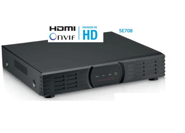 Kit NVR 8 CANAIS IP 1080P FULL HD SE708 + HD 500gb Cftv