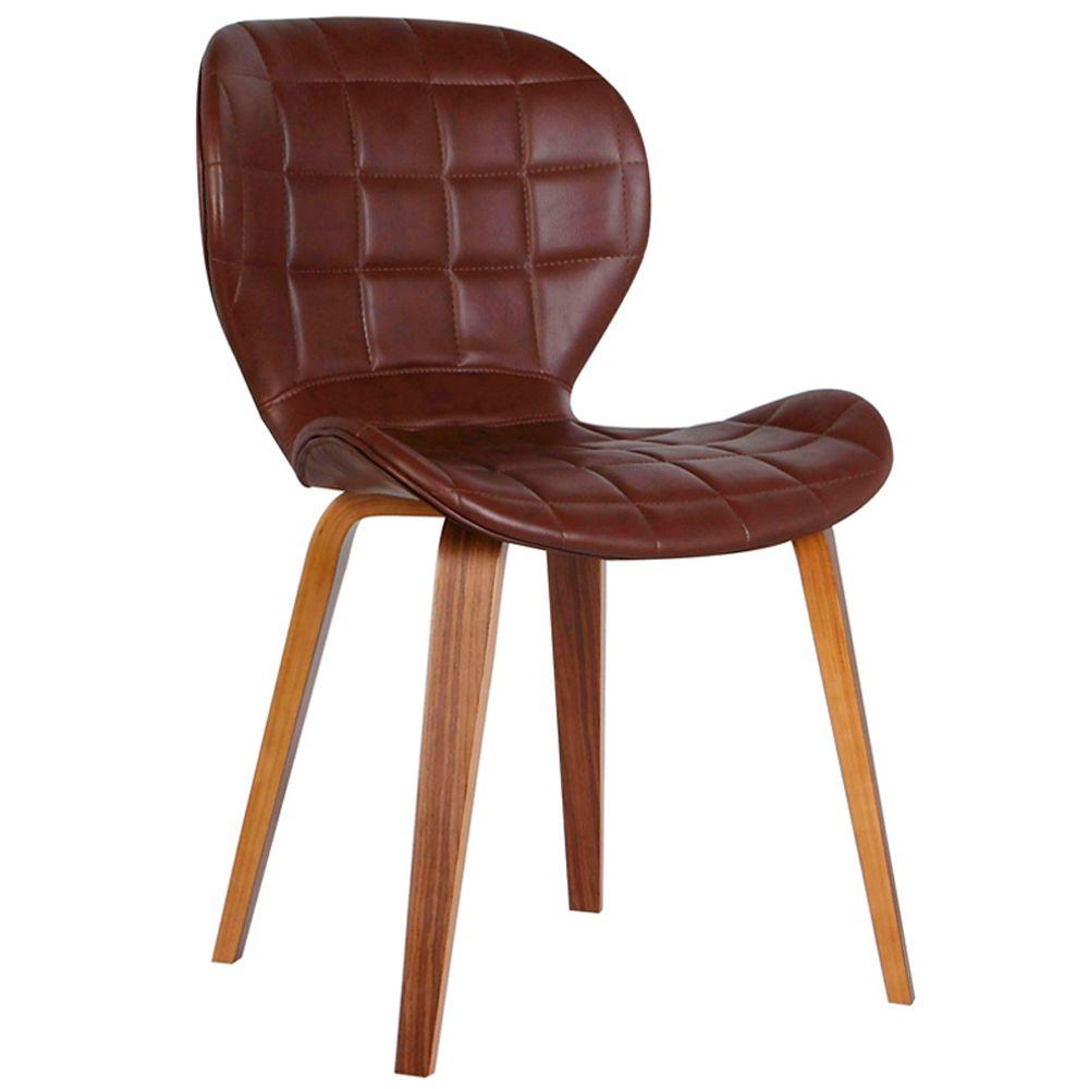 Cadeira Decorativa de Escritório Recepção GranClass PU Marrom - Gran Belo