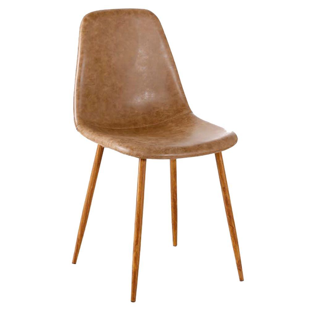 Cadeira Decorativa Sala e Escritorio Base Nogueira Emotion PU Marrom - Gran Belo