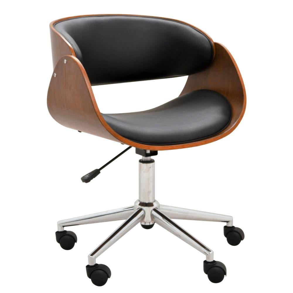 Cadeira Escritório Office Oga Base Giratória Cromada PU Preta - Gran Belo