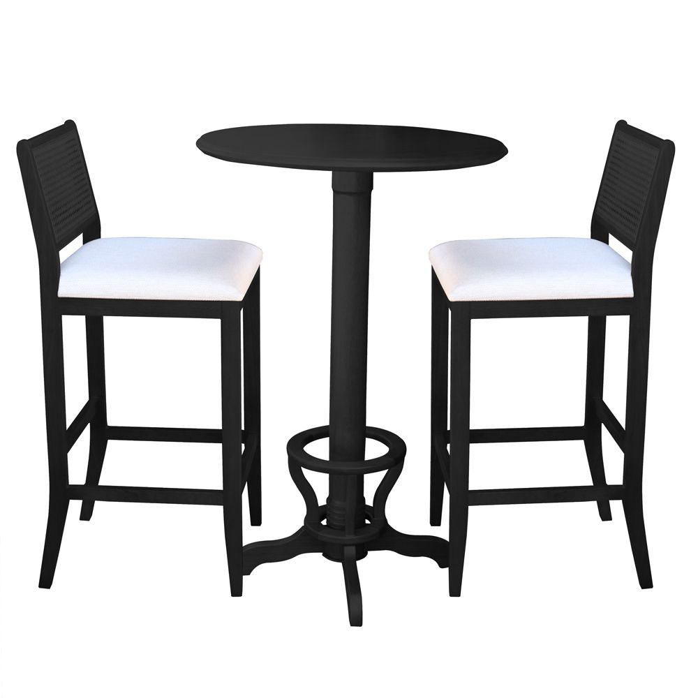 Conjunto de Mesa Bar Redonda com 2 Banquetas pés Madeira Maciça Adan Preto Fosco - Gran Belo