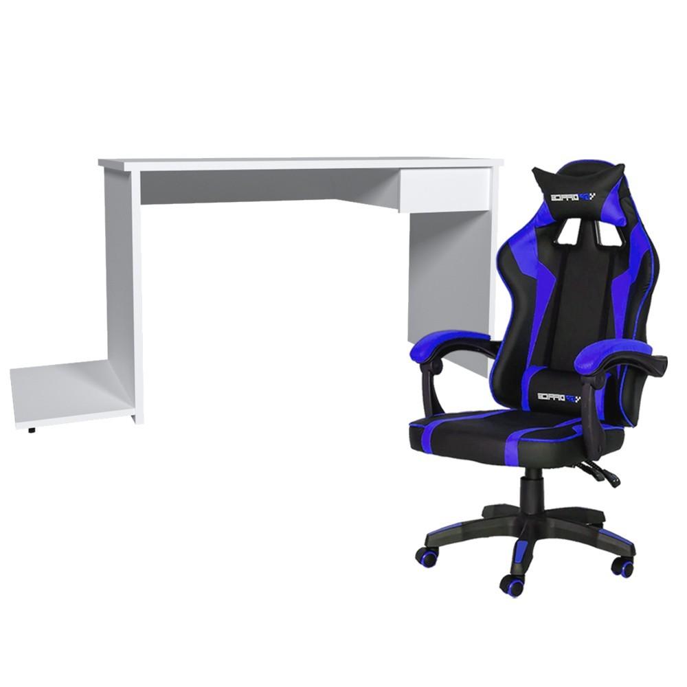 Conjunto PlayerXTreme SLIN Mesa Branco Texturizado e Cadeira Gamer Azul - Gran Belo