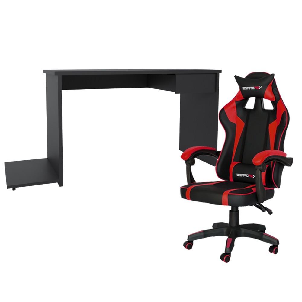 Conjunto PlayerXTreme SLIN Mesa Preto Texturizado e Cadeira Gamer Vermelho - Gran Belo