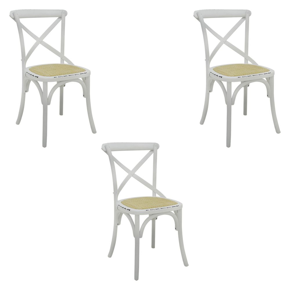 Kit 3 Cadeiras Decorativas Sala De Jantar Cozinha Danna Rattan Natural Branca - Gran Belo