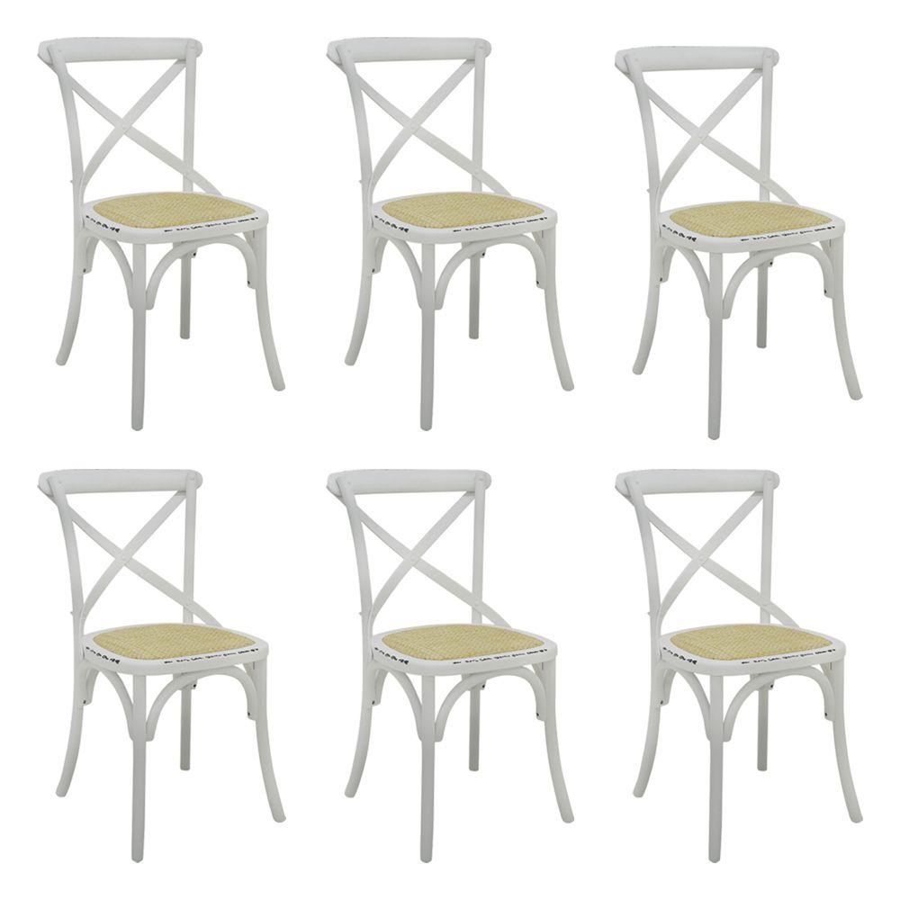 Kit 6 Cadeiras Decorativas Sala De Jantar Cozinha Danna Rattan Natural Branca  - Gran Belo