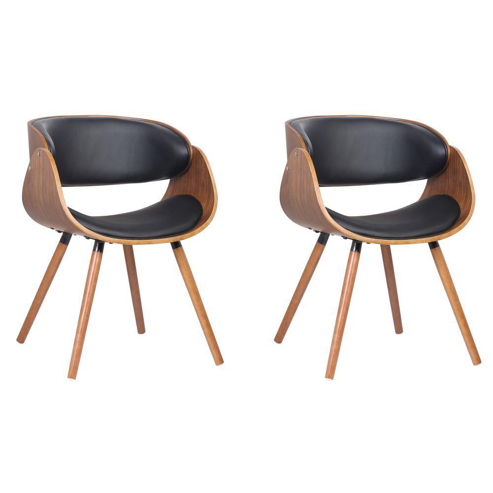 Kit 02 Cadeiras Decorativas Escritório Oga Base Madeira PU Preta - Gran Belo