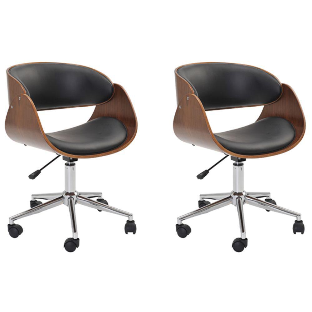 Kit 02 Cadeiras Escritório Office Oga Base Giratória Cromada PU Preta - Gran Belo
