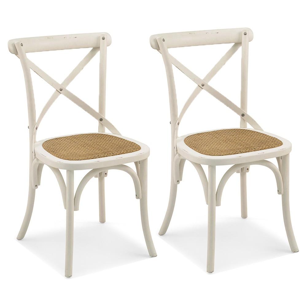 Kit 02 Cadeiras Para Sala de Jantar Cozinha Blair Branco Provençal - Gran Belo