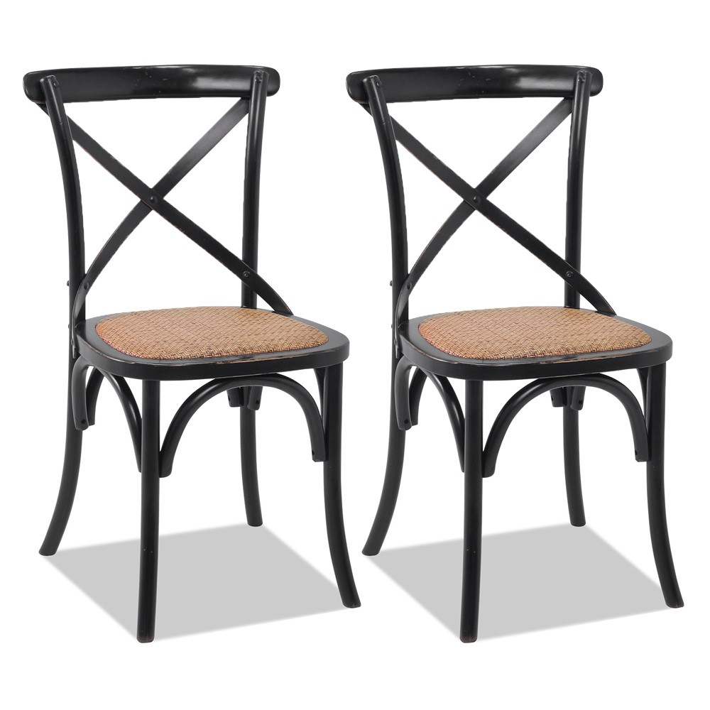 Kit 02 Cadeiras Para Sala de Jantar Cozinha Blair Preto Provençal - Gran Belo