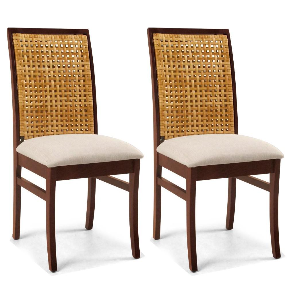 Kit 02 Cadeiras Para Sala de Jantar Cozinha Latina Canela Linho Rústico Bege - Gran Belo