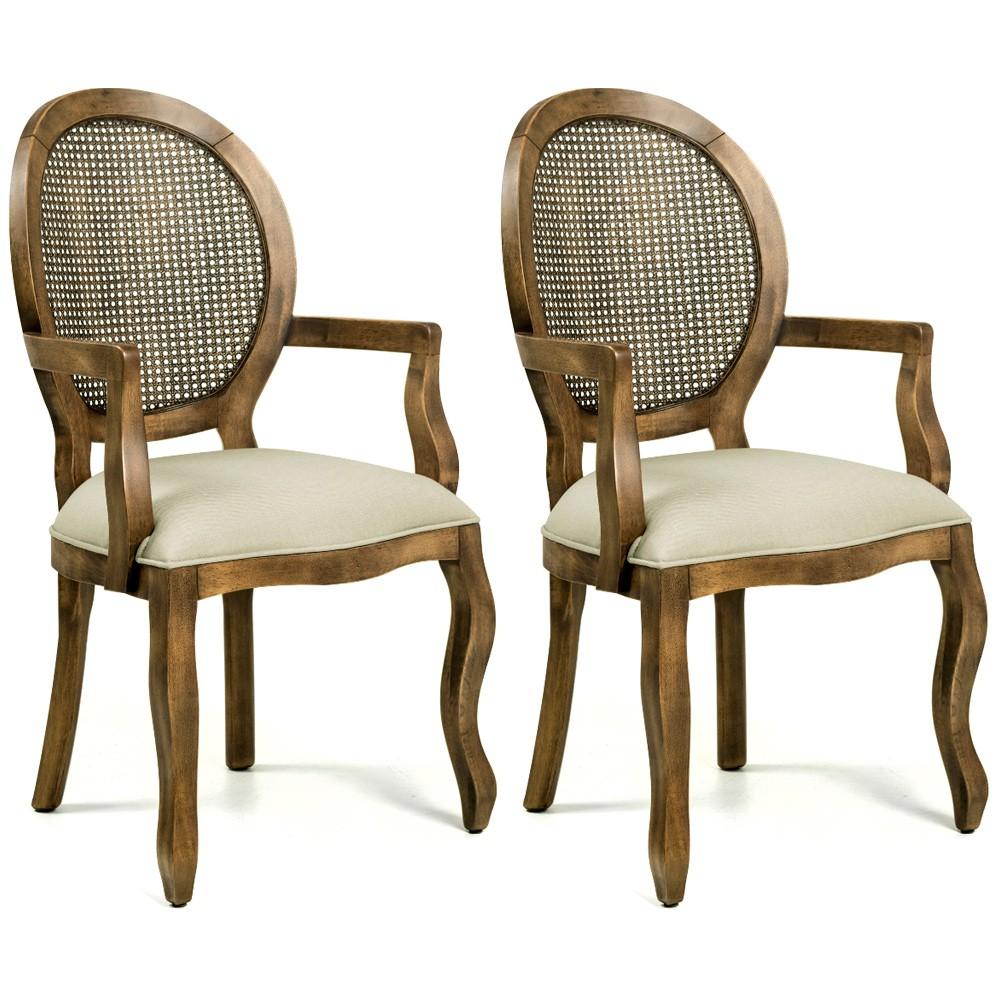 Kit 02 Cadeiras Sala de Jantar Cozinha Isla Provençal com Braços Oregon Linho Bege - Gran Belo