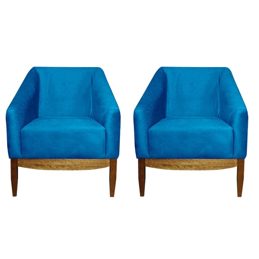 Kit 02 Poltronas Decorativa Sala de Estar Zahara Veludo Azul Claro Tressê - Gran Belo