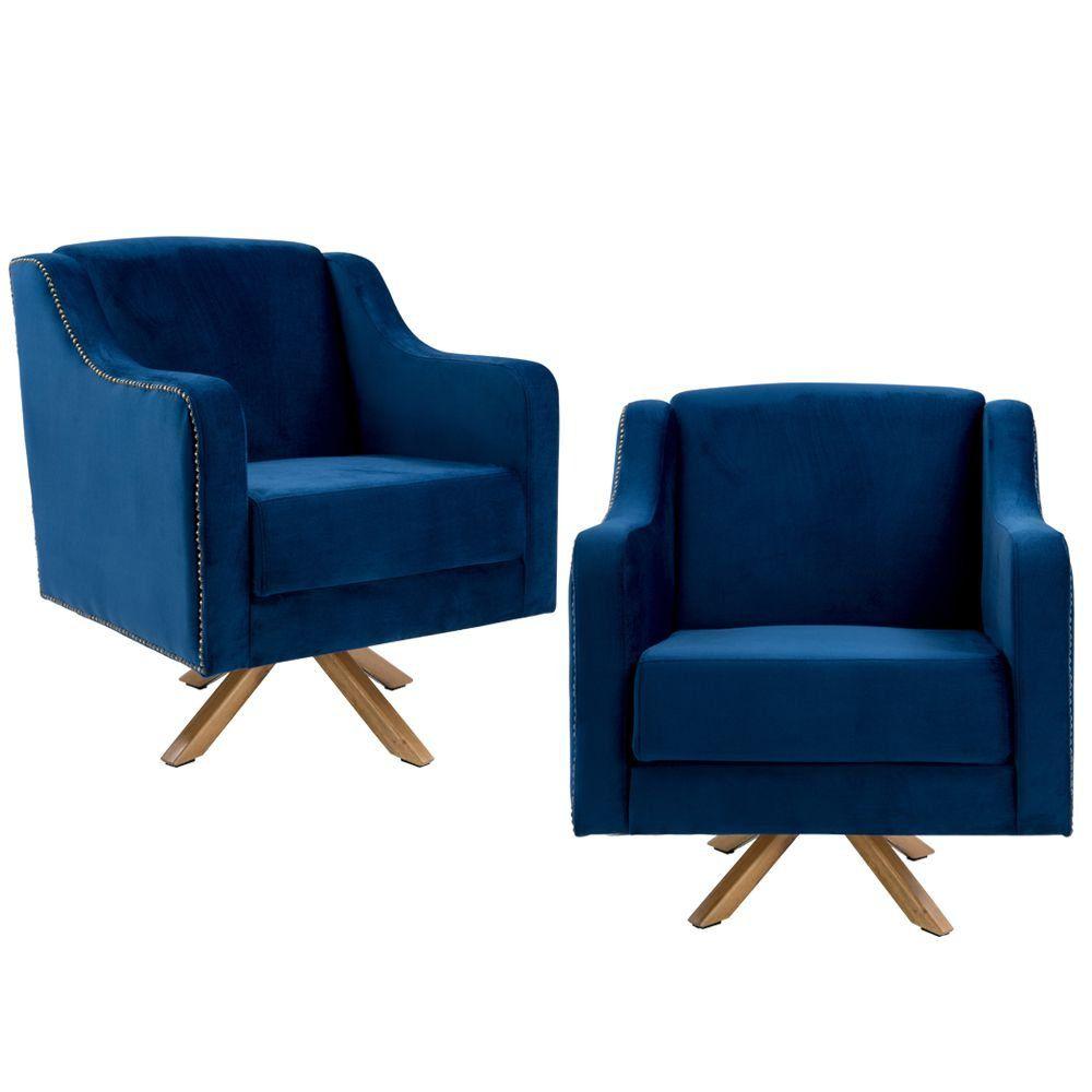 Kit 02 Poltronas Decorativas Sala de Estar Giratória Hana Veludo Azul - Gran Belo