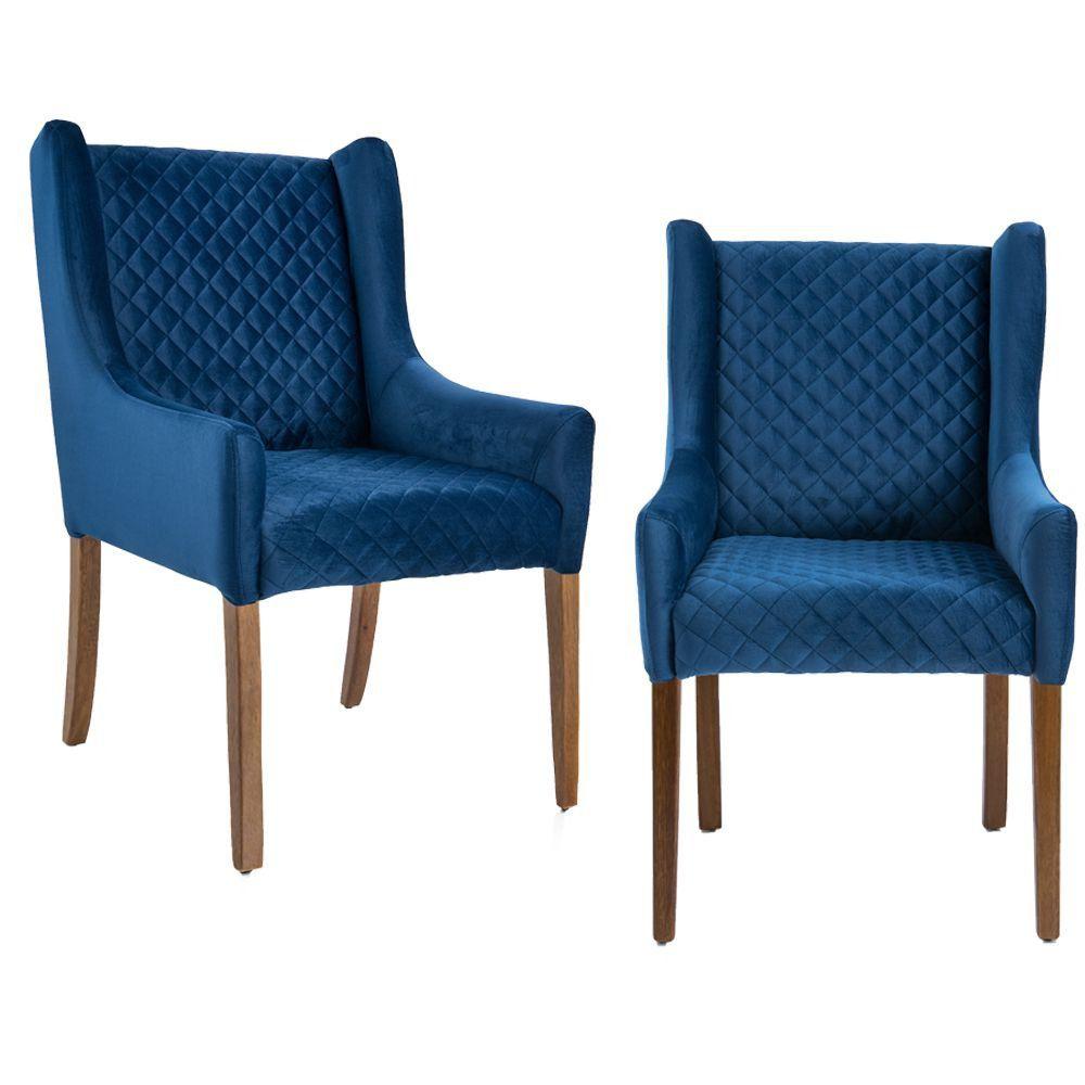 Kit 02 Poltronas Decorativas Sala de Estar Haya Tressê Veludo Azul - Gran Belo