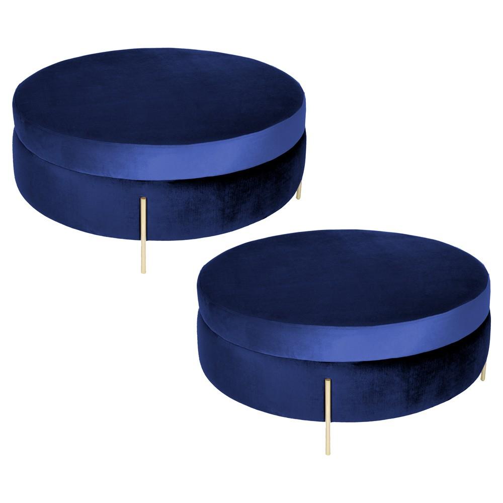 Kit 02 Puffs Decorativo Sala de Estar 100cm Bonn Veludo Azul Bic - Gran Belo