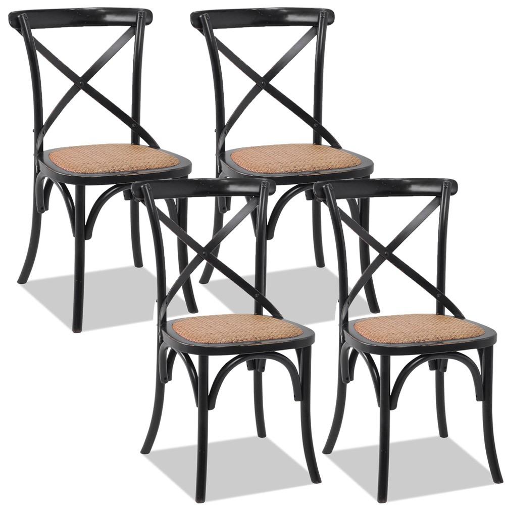 Kit 04 Cadeiras Para Sala de Jantar Cozinha Blair Preto Provençal - Gran Belo