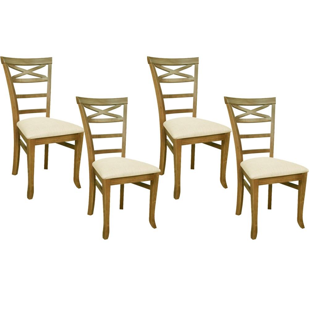 Kit 04 Cadeiras Para Sala de Jantar Cozinha Sky Oregon Linho Rústico Bege Claro - Gran Belo