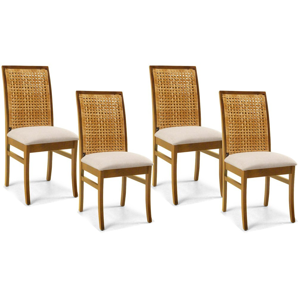 Kit 04 Cadeiras Para Sala de Jantar Cozinha Latina Oregon Linho Rústico Bege - Gran Belo