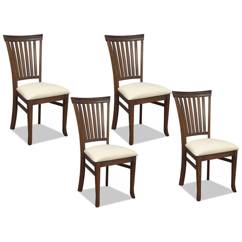 Kit 04 Cadeiras Para Sala de Jantar Cozinha Vitte Canela Linho Rústico Bege - Gran Belo