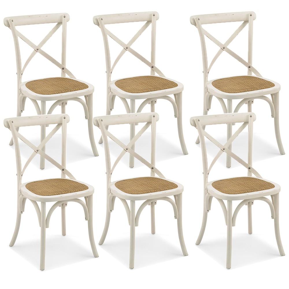 Kit 06 Cadeiras Para Sala de Jantar Cozinha Blair Branco Provençal - Gran Belo
