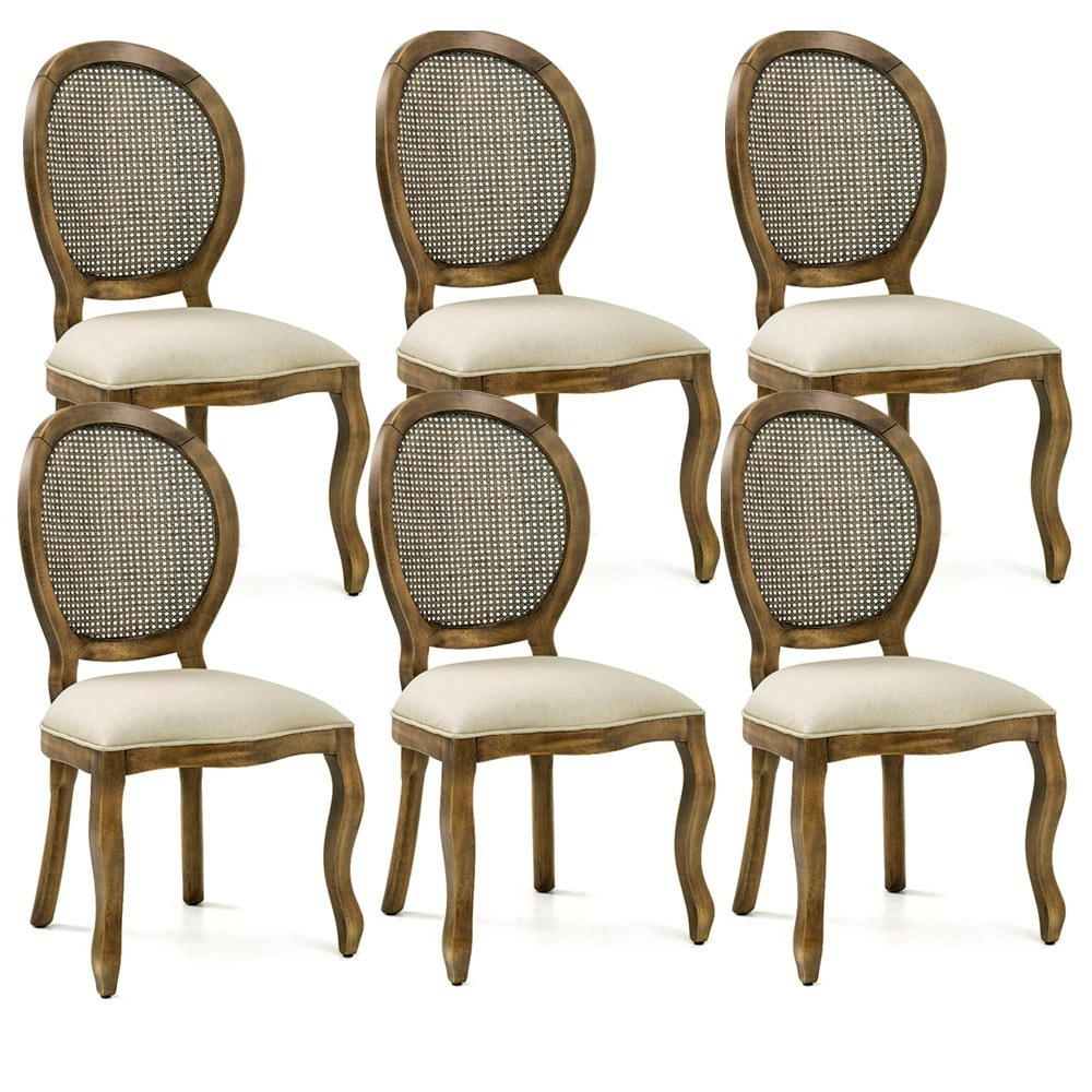 Kit 06 Cadeiras Para Sala de Jantar Cozinha Isla Provençal Oregon Linho Rústico Bege - Gran Belo