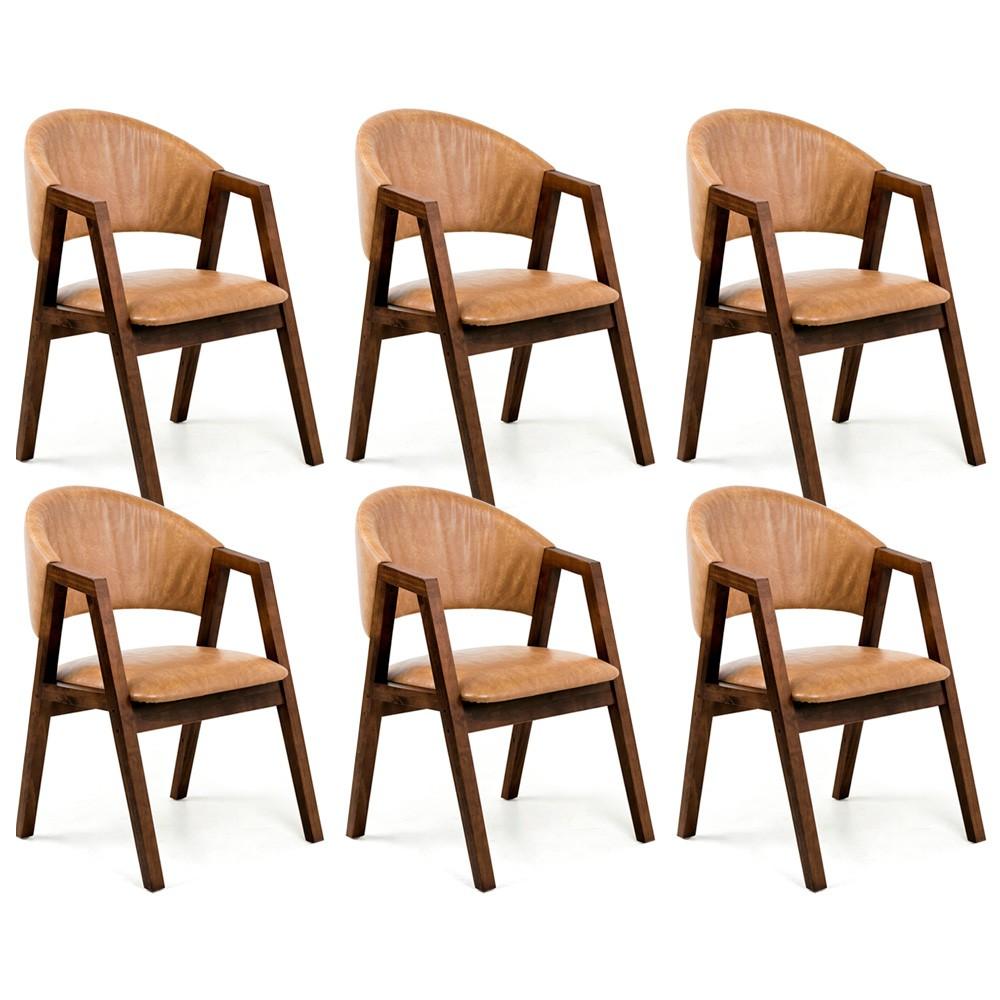 Kit 06 Cadeiras Para Sala de Jantar Cozinha Nik Canela Courino Camel - Gran Belo