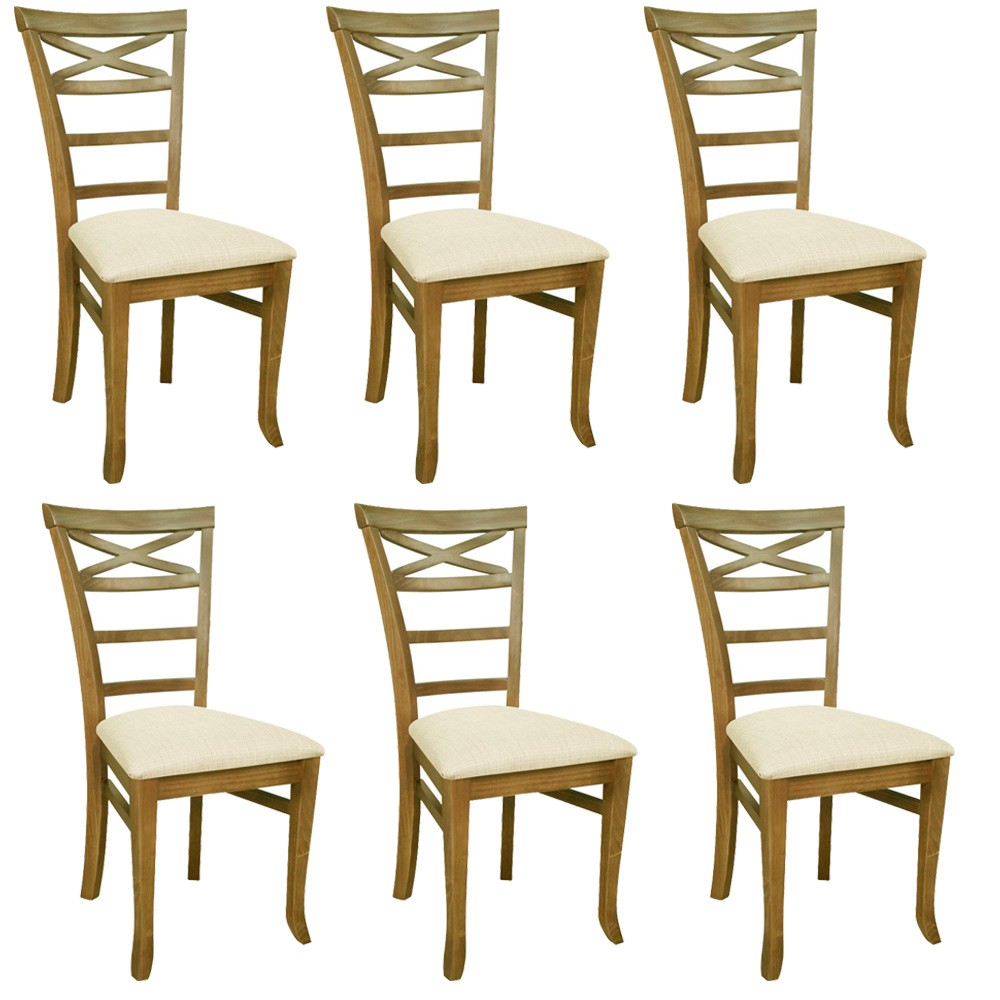 Kit 06 Cadeiras Para Sala de Jantar Cozinha Sky Oregon Linho Rústico Bege Claro - Gran Belo