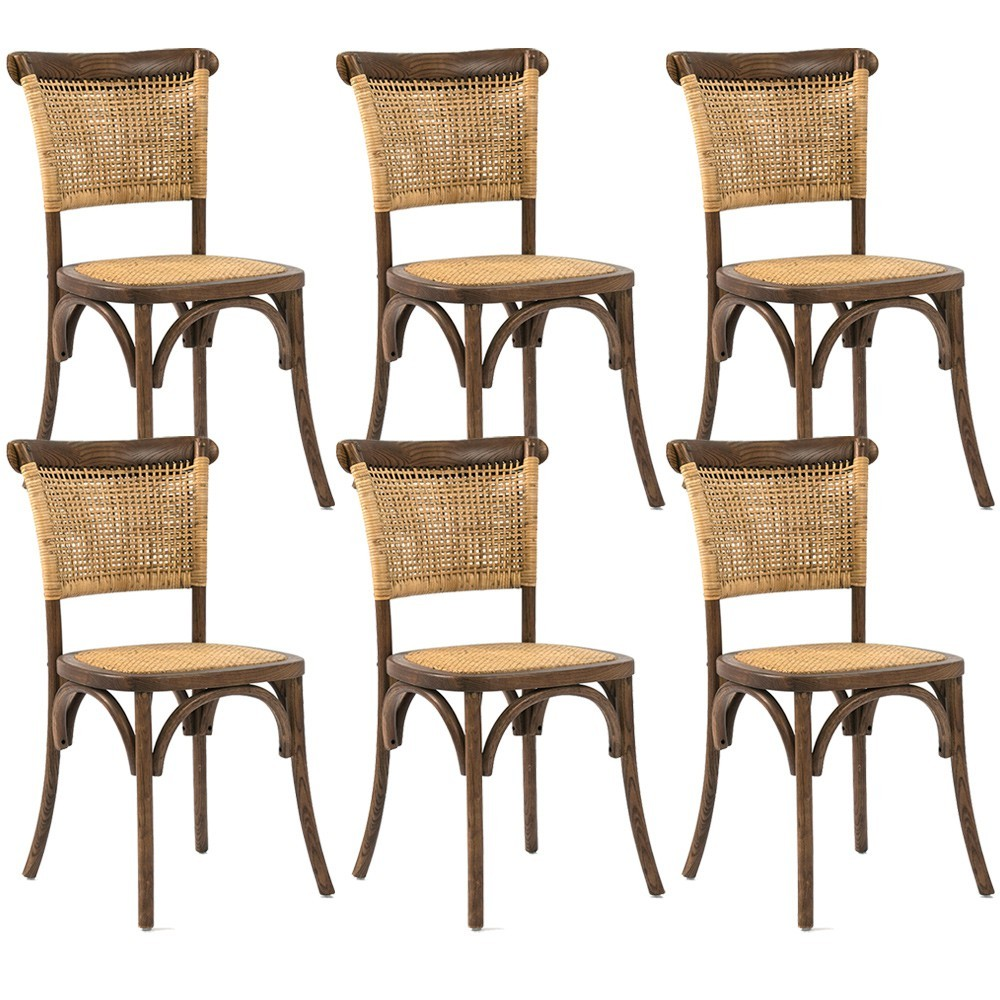 Kit 06 Cadeiras Para Sala de Jantar Cozinha Very Canela Rattan - Gran Belo