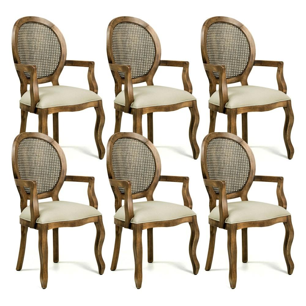Kit 06 Cadeiras Sala de Jantar Cozinha Isla Provençal com Braços Oregon Linho Bege - Gran Belo